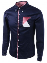 Gingham Splicing Design Turn-Down Collar Long Sleeve Shirt -