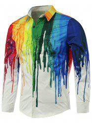 Colorful Paint Dripping Print Covered Button Front Long Sleeve Shirt - WHITE