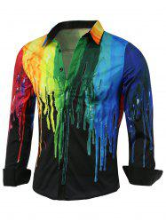 Colorful Paint Dripping Print Covered Button Front Long Sleeve Shirt - BLACK