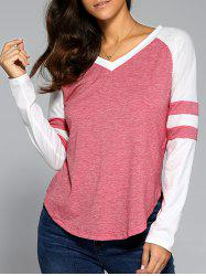 Long Sleeve V Neck Arc-Shaped Hem T-Shirt
