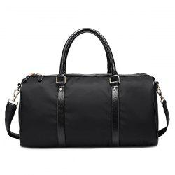 Zip PU Spliced ​​Nylon Tote Bag - Noir