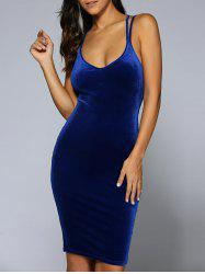 Criss-Cross Velvet Bodycon Slip Dress - BLUE