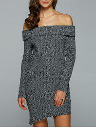 Off-The-Shoulder Heather Asymmetrical Jumper Dress - GRAY