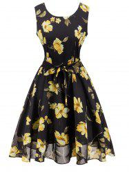 Retro Belted High Waisted Floral Print Tea Dress - BLACK