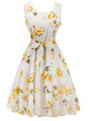Chiffon Floral Knee Length Belted Flare Dress - WHITE 2XL