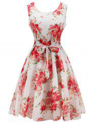 Retro Belted High Waisted Floral Print A Line Dress - WHITE