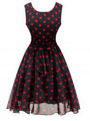 Retro Belted High Waisted Polka Dot Dress -