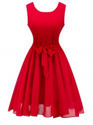 Retro Sleeveless Belted High Waisted Swing Dress - RED