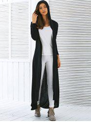Hooded Maxi Long Duster Cardigan - BLACK