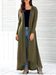 Hooded Maxi Long Duster Cardigan - ARMY GREEN