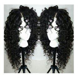 Long Curly Side Parting Lace Front Synthetic Wig - BLACK