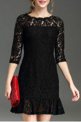 Hollow Out Ruffle Hem Lace Dress
