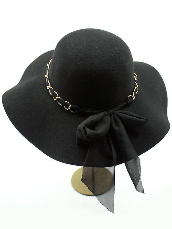Bowknot Floppy Wool Fedora HatACCESSORIES<br><br>Color: BLACK; Hat Type: Fedoras; Group: Adult; Gender: For Women; Style: Fashion; Pattern Type: Solid; Material: Wool; Circumference (CM): 56CM-58CM; Weight: 0.150kg; Package Contents: 1 x Hat;