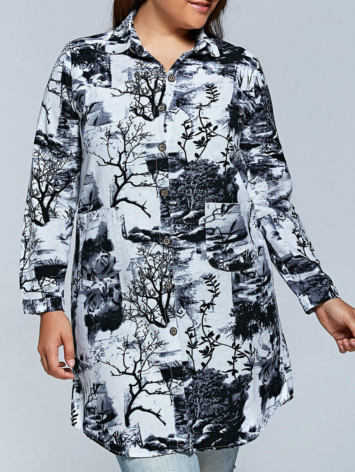 f1696e3d092 Outfits Plus Size Ink Painting Long Sleeve Button Down Dress