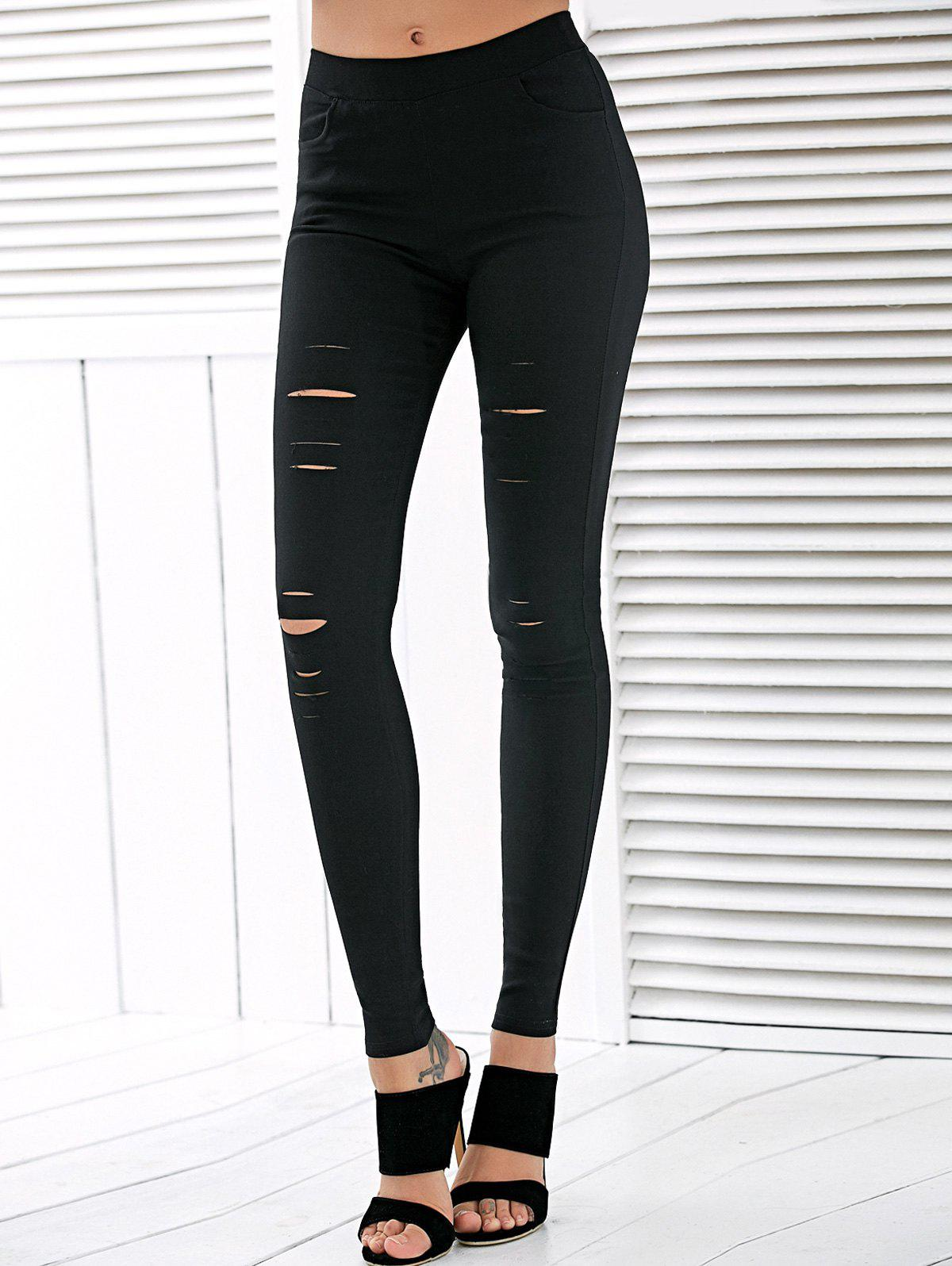 High Waisted Ripped LeggingsWOMEN<br><br>Size: L; Color: BLACK; Style: Fashion; Material: Polyester; Waist Type: High; Pattern Type: Solid; Elasticity: Elastic; Weight: 0.370kg; Package Contents: 1 x Leggings;