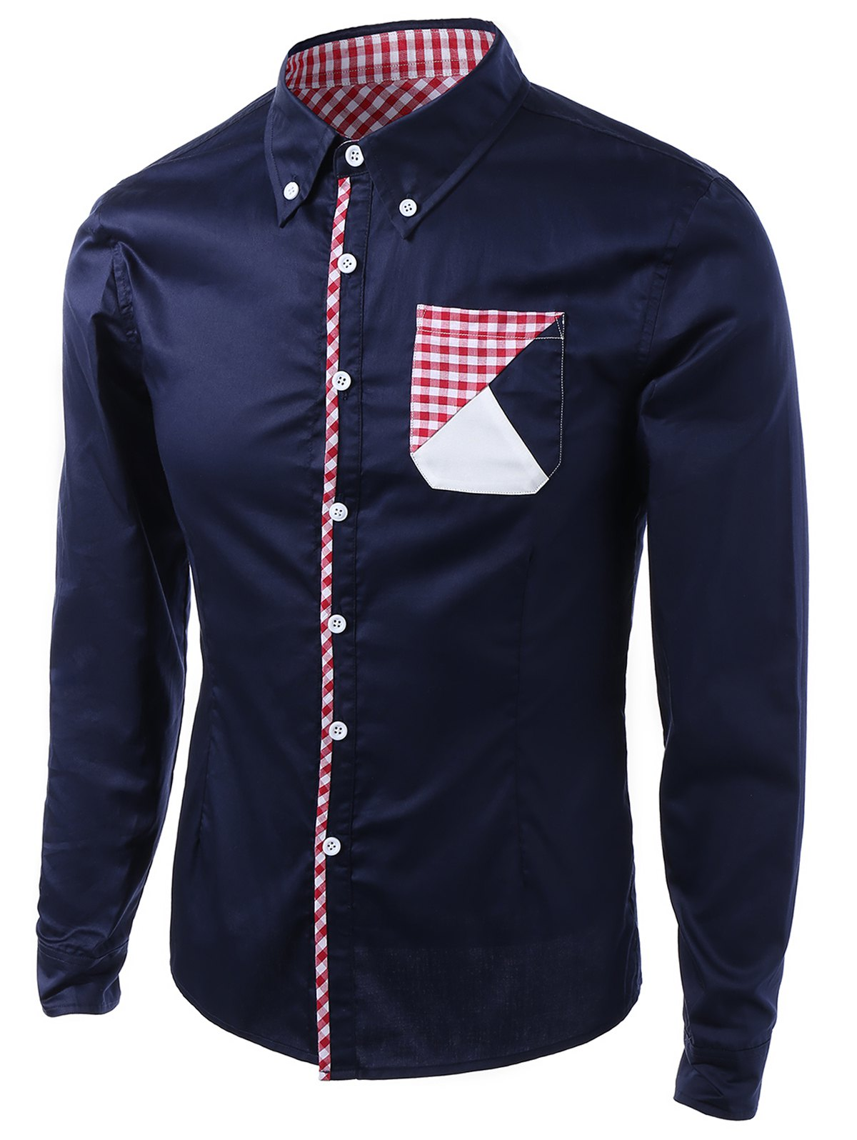 Unique Gingham Splicing Design Turn-Down Collar Long Sleeve Shirt