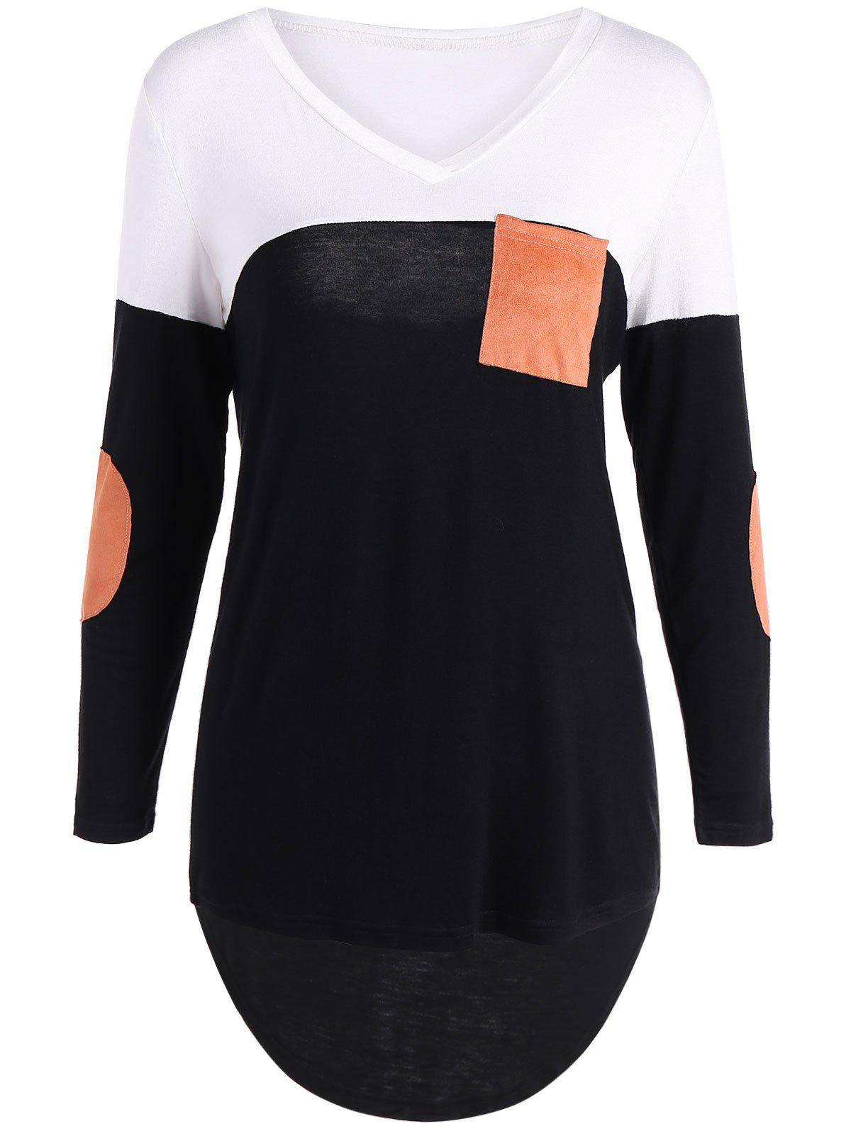 Patchy Sleeve High Low Hem T-ShirtWOMEN<br><br>Size: L; Color: BLACK; Material: Cotton Blends; Sleeve Length: Full; Collar: V-Neck; Style: Casual; Embellishment: Front Pocket; Pattern Type: Patchwork; Season: Fall,Spring,Winter; Elasticity: Elastic; Weight: 0.300kg; Package Contents: 1 x T-Shirt;