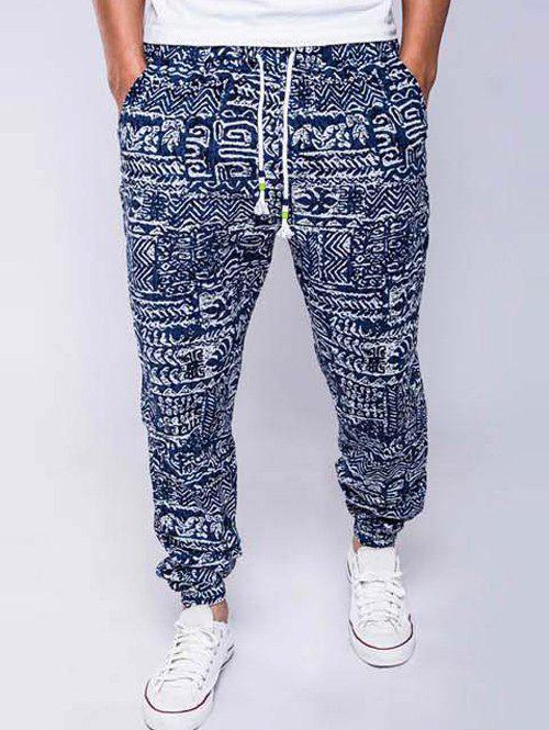 Chic Cotton and Linen Geometric Print Drawstring Beam Feet Jogger Pants