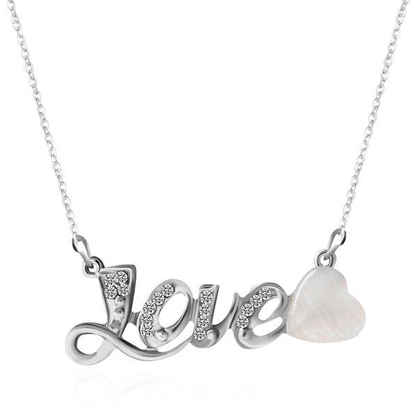 Shop Faux Opal Rhinestone Love Heart Necklace