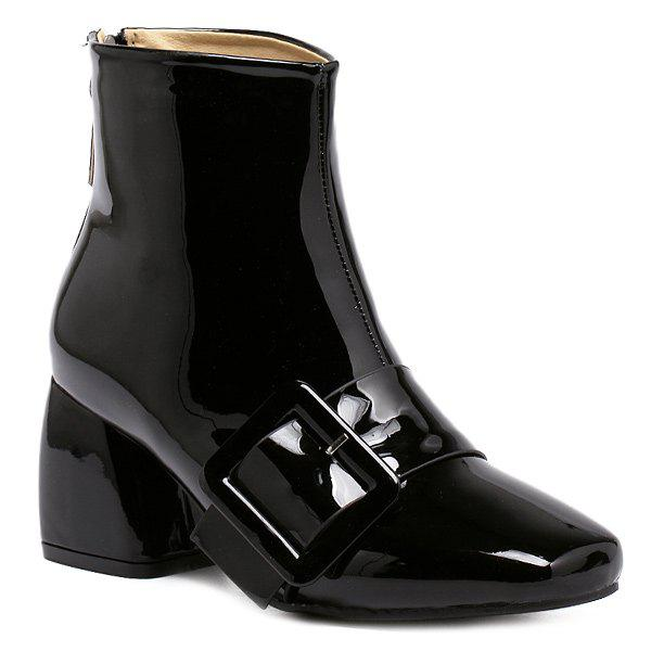 Trendy Patent Leather Square Toe Ankle Boots