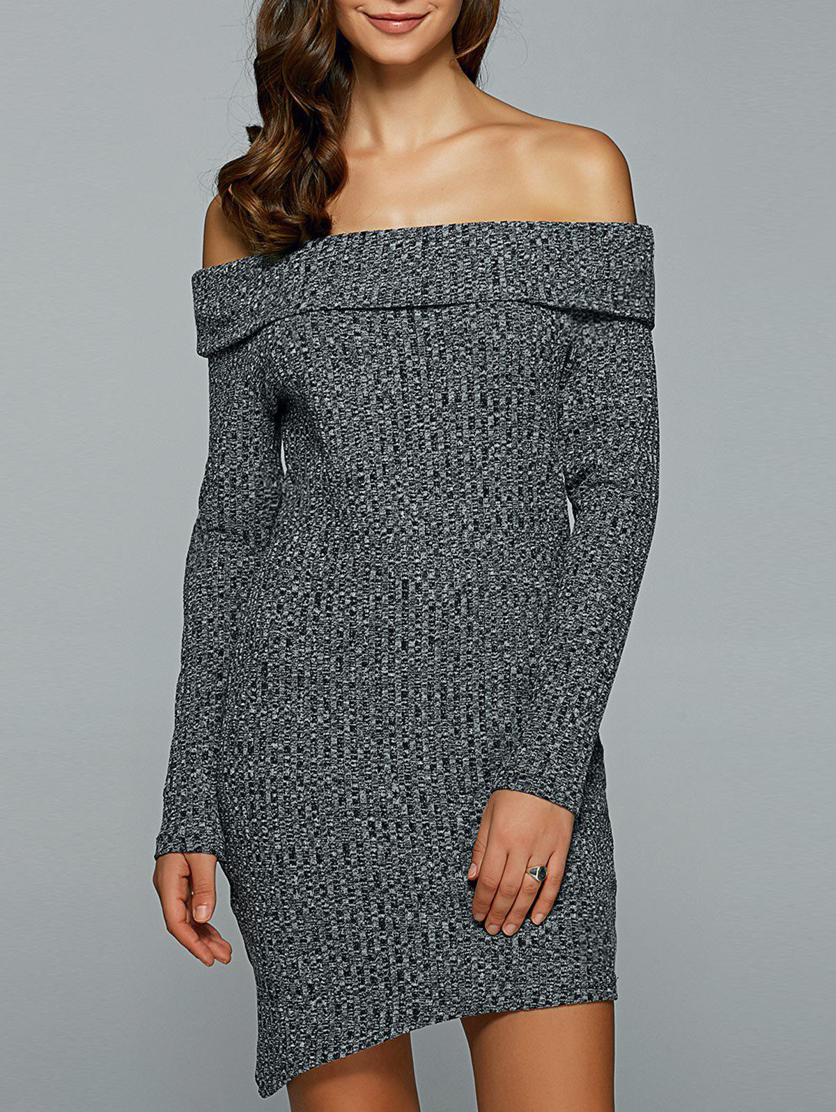Off-The-Shoulder Heather Asymmetrical Jumper DressWOMEN<br><br>Size: S; Color: GRAY; Style: Casual; Material: Cotton,Spandex,Wool; Silhouette: Sheath; Dresses Length: Mini; Neckline: Off The Shoulder; Sleeve Length: Long Sleeves; Pattern Type: Solid; With Belt: No; Season: Fall,Winter; Weight: 0.281kg; Package Contents: 1 x Dress;