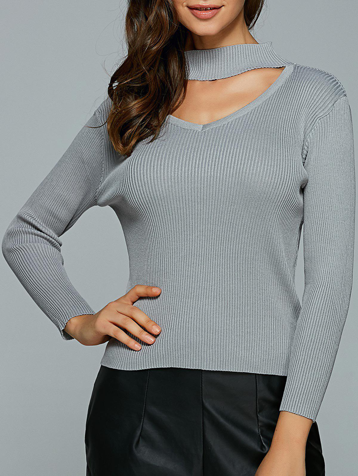 Hollow Out Knitted Ribbed Pullover 195050205