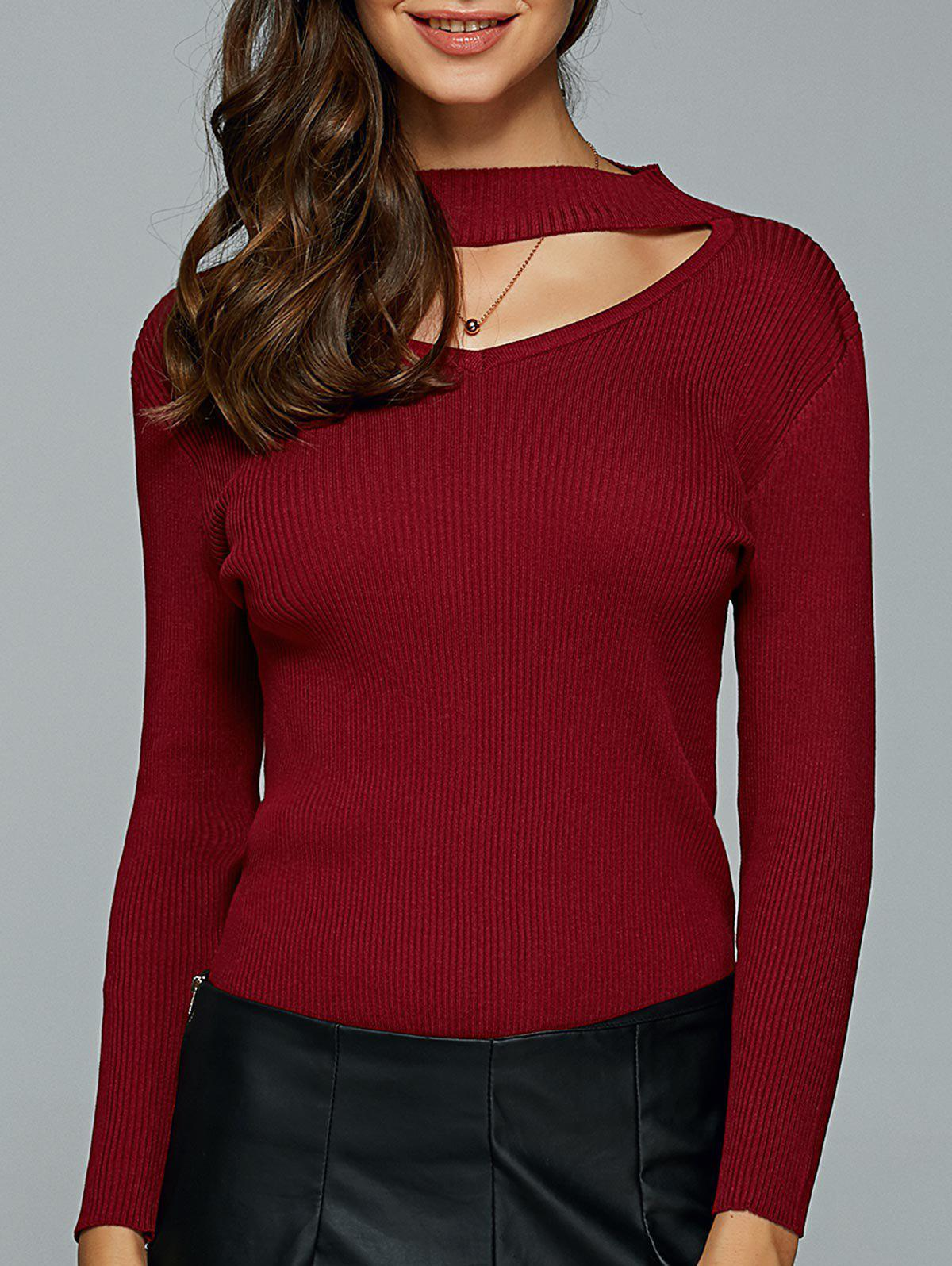 Outfits Hollow Out Ribbed Knitted Pullover
