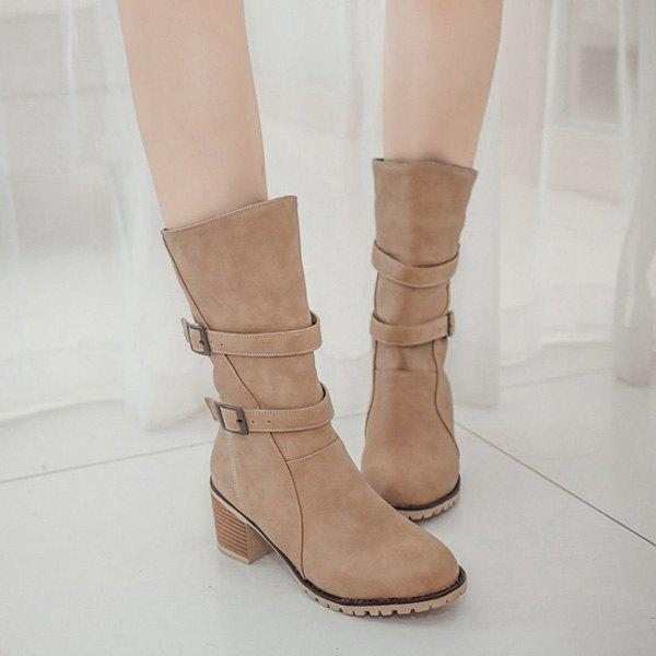 Online Buckle Chunky Heel Middle Boots