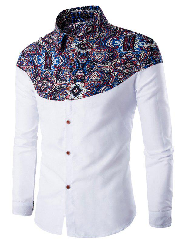 Buy Ethnic Style Pattern Spliced Turn-Down Collar Long Sleeve Shirt
