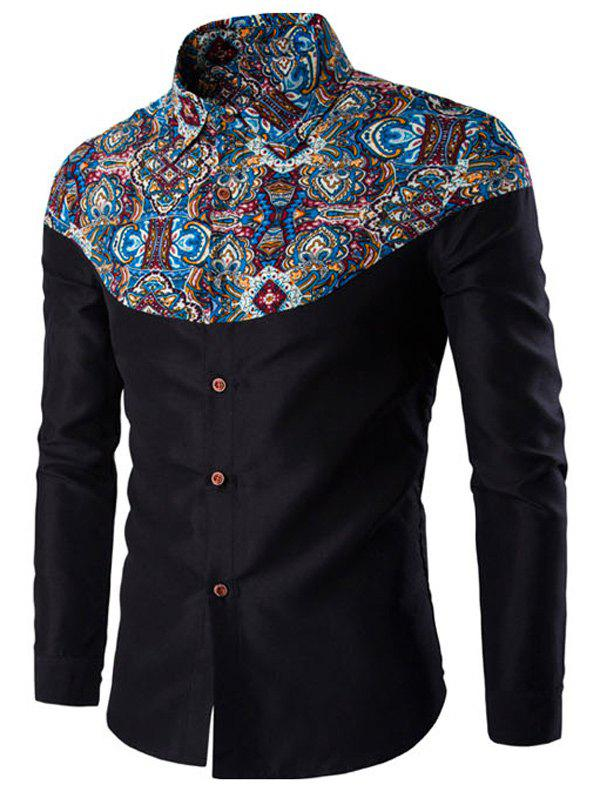 Latest Ethnic Style Pattern Spliced Turn-Down Collar Long Sleeve Shirt
