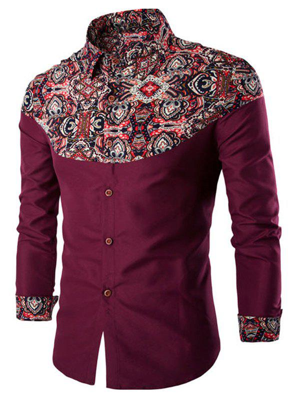 Trendy Ethnic Style Pattern Spliced Turn-Down Collar Long Sleeve Shirt