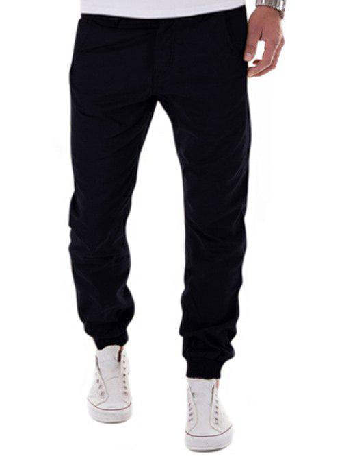 Online Low-Slung Crotch Design Zipper Fly Beam Feet Jogger Pants