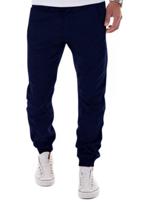 Fashion Low-Slung Crotch Design Zipper Fly Beam Feet Jogger Pants