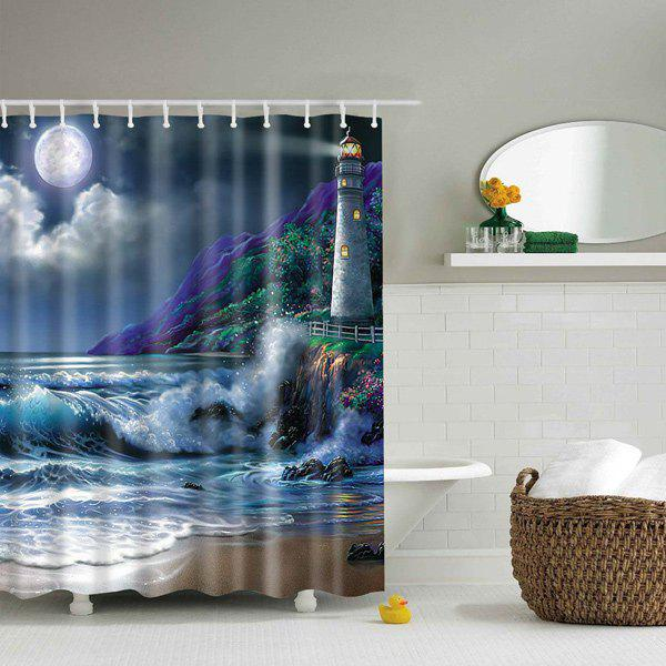 Discount Waterproof Nature Landscape Design Polyester Shower Curtain