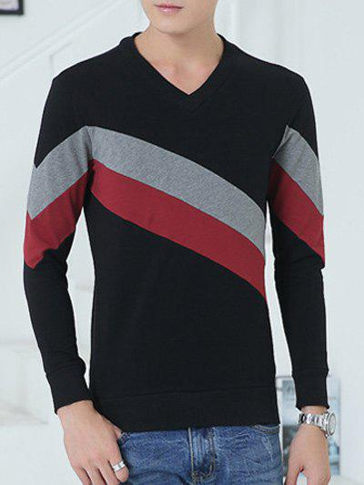 Buy V-Neck Diagonal Striped Color Block Sweatshirt