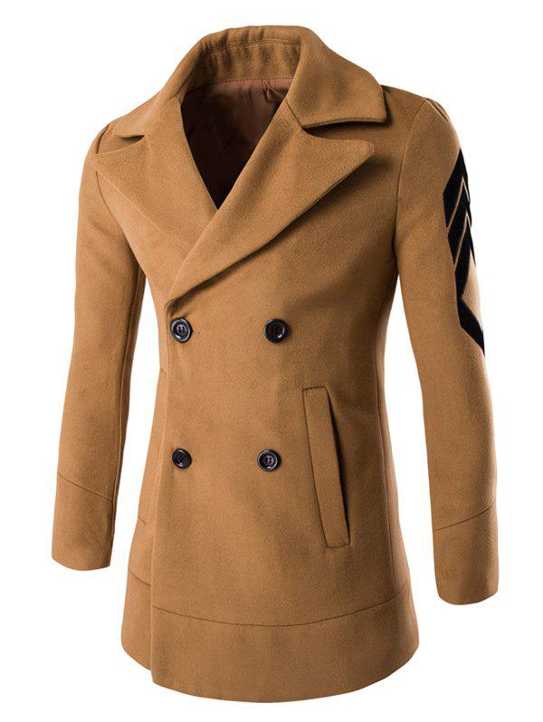 Buy Turn-Down Collar Embroidery Double-Breasted Woolen Coat
