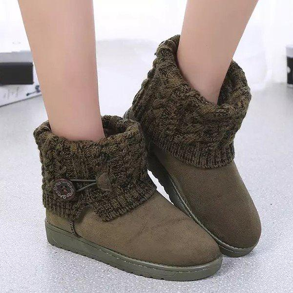 Best Suede Button Cable Knitted Snow Boots