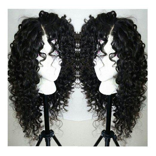 Long Curly Side Parting Lace Front Synthetic WigHAIR<br><br>Color: BLACK; Type: Full Wigs; Cap Construction: Lace Front; Style: Curly; Material: Synthetic Hair; Bang Type: Side; Length: Long; Lace Wigs Type: Lace Front Wigs; Length Size(Inch): 28; Heat Resistant: Below 200?; Weight: 0.4260kg; Package Contents: 1 x Wig;