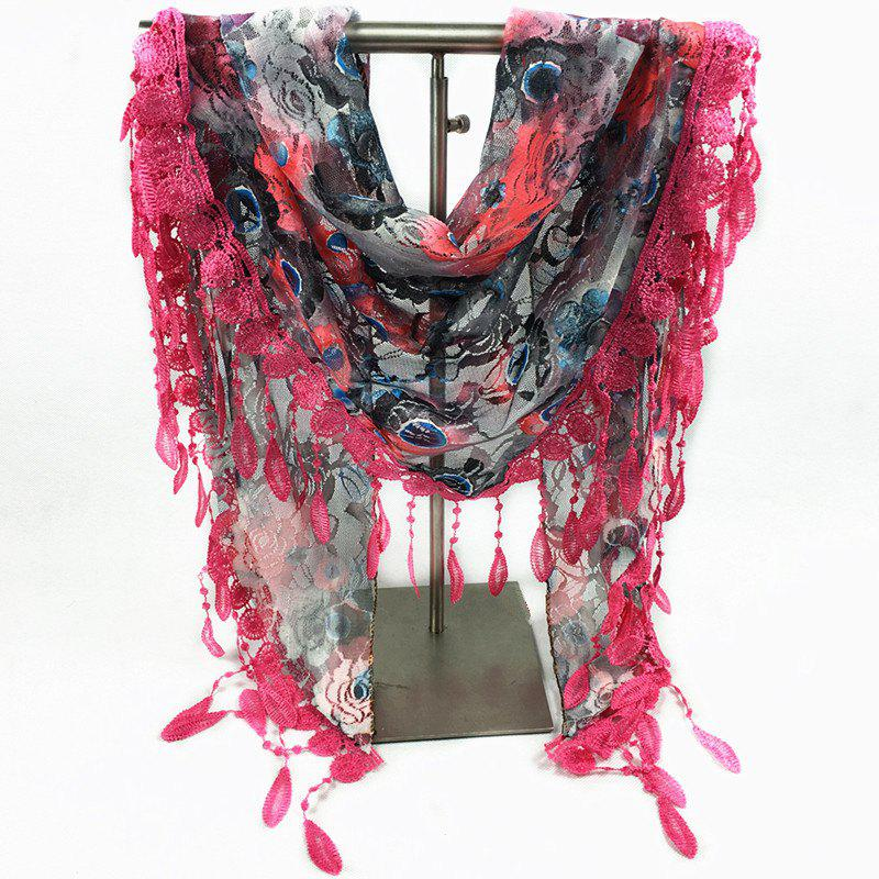 Feather Pendant Flower Pattern Trim Lace Triangle ScarfACCESSORIES<br><br>Color: ROSE RED; Scarf Type: Scarf; Group: Adult; Gender: For Women; Style: Fashion; Material: Polyester; Season: Fall,Spring,Summer; Scarf Length: 130CM; Scarf Width (CM): 50CM; Weight: 0.100kg; Package Contents: 1 x Scarf;