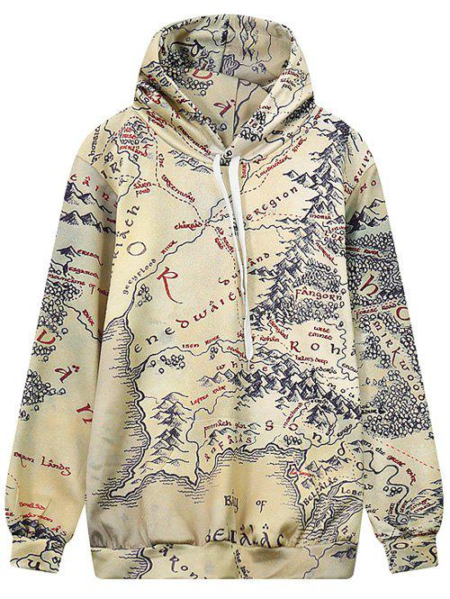 Store Hooded Front Pocket Map Print Hoodie