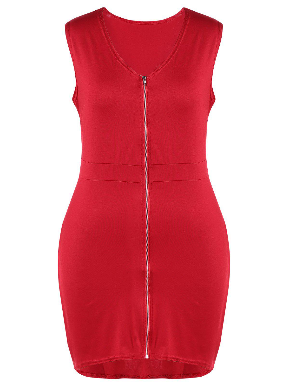 Plus Size Zip Front Flying V Neck Bodycon Dress