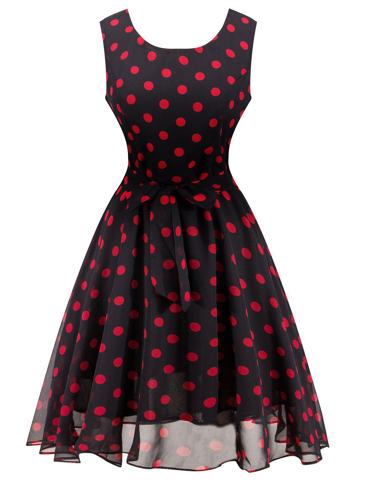 Latest Retro Belted High Waisted Polka Dot Dress