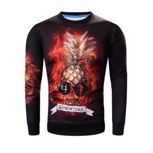 Round Neck 3D Abstract Pineapple Skull Print Long Sleeve Sweatshirt
