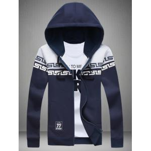 Printed Color Splicing Drawstring Zip Up Hoodie