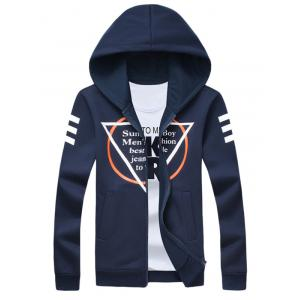 Inverted Triangle Print Long Sleeve Zip Up Hoodie - Cadetblue - 4xl