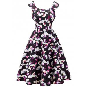 Retro Cape Sleeve Flounced Floral Dress - Black - S