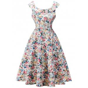 Retro Flounced Cape Sleeve  Floral Print Tea Dress - Off-white - S