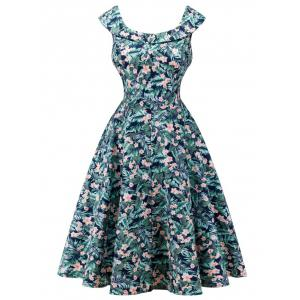 Retro Cape Sleeve  Floral Capelet Dress - Green Blue - S