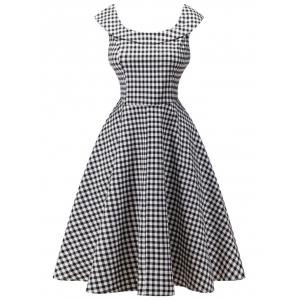 Retro High Waist Plaid Capelet Dress