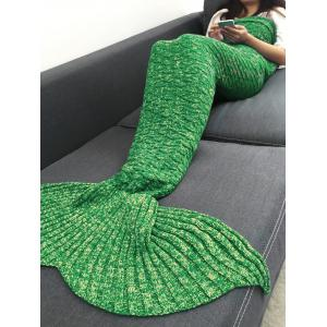 Keep Warm Acrylic Knitted Sofa Mermaid Tail Style Blanket - Light Green